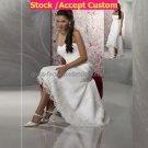 White Lace Applique Short Bridal Dress Strapless High Front Low Back Hi-low Beach Wedding Dress