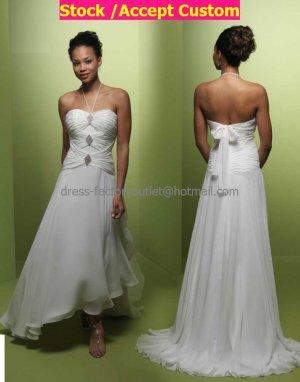 Ivory Pleated Chiffon Short Bridal Dress Strapless Asymmetrical Hi-low Beach Wedding Dress