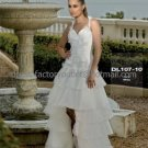 Ivory Organza Tiered Bridal Dress Halter Short Front Long Back Hi-low Beach Wedding Dress