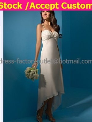 Ivory Chiffon Bridal Evening Dress Thin Straps High Front Low Back Hi-low Beach Wedding Dress