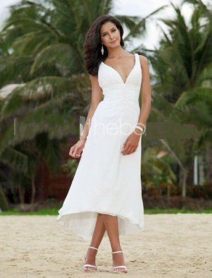 White Chiffon V-neck Bridal Evening Dress Sleeveless High Front Low Back Hi-low Beach Wedding Dress