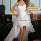 White Organza Bridal Evening Dress Strapless High Front Low Back Hi-low Beach Wedding Dress