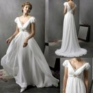 A-line White Chiffon Bridal Gown Beaded Prom Dress Short Sleeves V-neck Empire Waist Wedding Dress