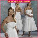 White Chiffon Empire Waist Bridal Evening Dress Strapless Ankle Length Beach Wedding Dress