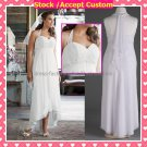 White Chiffon Empire Waist Bridal Evening Dress Strapless Ankle Length Beach Wedding Dress