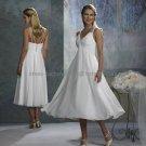 White Chiffon Empire Waist Bridal Evening Dress V-neck Carlf Length Beach Maternity Wedding Dress