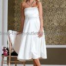 White Satin Empire Waist Bridal Evening Dress Strapless Short  Maternity Wedding Dress