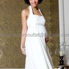 White Satin Empire Waist Bridal Evening Dress Halter Short Maternity Wedding Dress