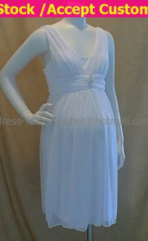 White Chiffon Empire Waist Bridal Evening Dress V-neck Short Maternity Wedding Dress