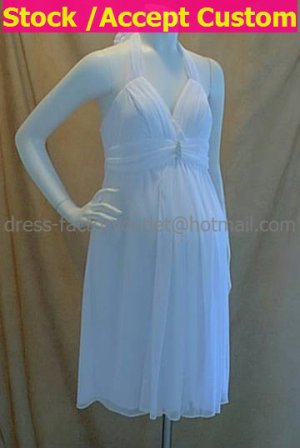Custom White Chiffon Empire Waist Bridal Evening Dress Halter Short Maternity Wedding Dress