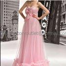 Pink Tulle Empire Waist Bridal Evening Dress Strapless Long Maternity Wedding Dress & Bow