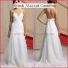 White Organza Lace Empire Waist Bridal Evening Dress Spaghetti Straps Long Maternity Wedding Dress