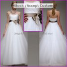 White Organza Empire Waist Bridal Evening Dress Strapless Long Maternity Wedding Dress & Maroon Sash