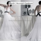 White Organza Empire Waist Bridal Evening Dress Halter Long Maternity Wedding Dress & Black Sash