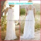 White Lace Chiffon Empire Waist Bridal Evening Dress V-neck Long Pregnant  Wedding Dress