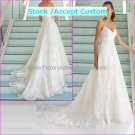 White Lace Empire Waist Bridal Evening Dress Thin Straps Long Royal Wedding Dress