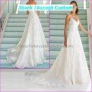 White Lace Empire Waist Bridal Evening Dress Thin Straps Long Royal Wedding Dress