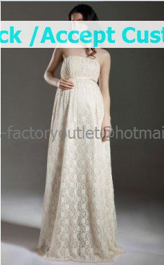 Champagne Lace Empire Waist Bridal Evening Dress Strapless Long Pregnant Wedding Dress