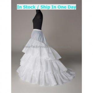 A-line White Nylon 3 Layer 3 Hoops Wedding Petticoat Dress Underware Bridal Bustle Crinoline P6