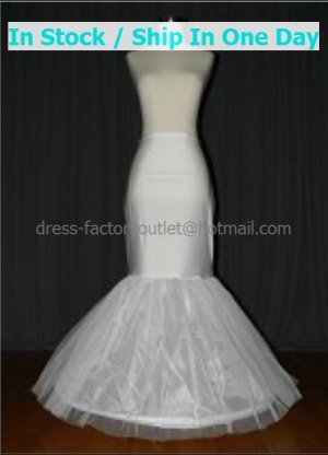 Mermaid White Nylon 2 Layer 1 Hoop Wedding Petticoat Dress Adjustable Bridal Bustle Crinoline p20