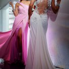 Pink White Chiffon Lace Bridal Evening Dress Jeweled Backless Prom Dress Formal Gown