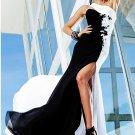 Black White Chiffon Asymmetrical Bridal Evening Dress Backless Prom Dress Formal Gown
