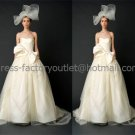 Ivory Satin Tulle A-line Bridal Gown Asymmetrical Custom Wedding Dress Big Bow