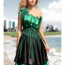 Vintage Black Green Satin One Shoulder Short Evening Dress Jeweled Prom Dress Pleated Party Dress