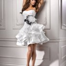 Strapless Short Bridal Ball Gown Black Sash White Satin A-line Wedding Dress