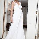 White Chiffon Empire Waist Maternity Bridal Dress Thin Sheer Straps V-neck Pregnant Wedding Dress