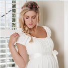 Short Sleeves Round Neck White Chiffon Empire Maternity Bridal Gowns Pregnant Wedding Dress H165