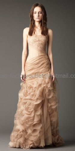 Strapless A-line Asymmetrically Bridal Gown Veiled Lace Organza Scallop Wedding Dress
