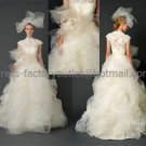 High-neck Cap-sleeve White Ball Gown Lace Appliques Tulle Asymmetrically Wedding Dress