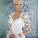 Ivory White Lace Bridal Dress Jacket Long Trumpet Sleeves Wedding Dress Bolero Jacket Sz 4 6 8 10 +
