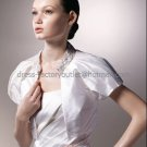 Ivory White Taffeta Short Sleeves Bridal Jacket Vest Shawl Wedding Dress Beaded Bolero Jacket J11