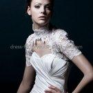 Ivory White Lace High-neck Short Sleeves Bridal Jacket Vest Shawl Wedding Dress Bolero Jacket J22