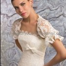 Ivory White Lace Short Trumpet Sleeves Bridal Jacket Vest Shawl Wedding Dress Bolero Jacket J38