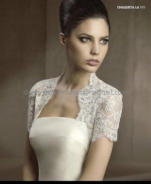 Ivory White Lace Short Sleeves Bridal Jacket Vest Shawl Wedding Dress