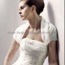 Ivory White Organza Pleated Short Sleeves Bridal Jacket Vest Shawl Wedding Dress Bolero Jacket J6