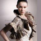 Brown Taffeta Pleated Short Sleeves Jacket Vest Shawl Wedding Dress Bolero Jacket J12