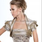 Brown Taffeta Pleated Short Sleeves Jacket Vest Shawl Wedding Dress Bolero Jacket J17