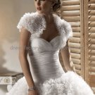 Ivory White Tulle Short Sleeves Bridal Jacket Vest Shawl Wedding Dress Bolero Jacket J31