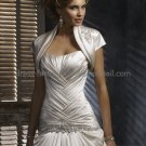 Champagne Satin Cap Sleeves Bridal Vest Shawl Wedding Bolero Jacket J37