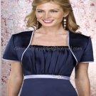 Navy Blue Satin Short Sleeves Bridal Vest Shawl Wedding Evening Dress Bolero Jacket J47