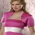 Custom Fuchsia Satin Short Sleeves Bridal Vest Shawl Wedding Evening Dress Bolero Jacket J51