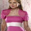 Custom Fuchsia Organza Short Sleeves Bridal Vest Shawl Wedding Evening Dress Bolero Jacket J53