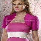 Custom Fuchsia Taffeta Short Sleeves Bridal Vest Shawl Wedding Evening Dress Bolero Jacket J54