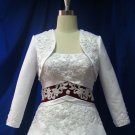 Custom Stock White Satin Long Sleeves Bridal Vest Shawl Wedding Evening Dress Bolero Jacket J45