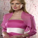 Custom Stock Fuchsia Chiffon Long Sleeves Bridal Vest Shawl Wedding Evening Dress Bolero Jacket J56