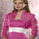 Custom Stock Fuchsia Organza Long Sleeves Bridal Vest Shawl Wedding Evening Dress Bolero Jacket J57